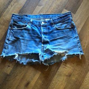 "Vintage Levi's 501 cut off shorts 36"" button fly"
